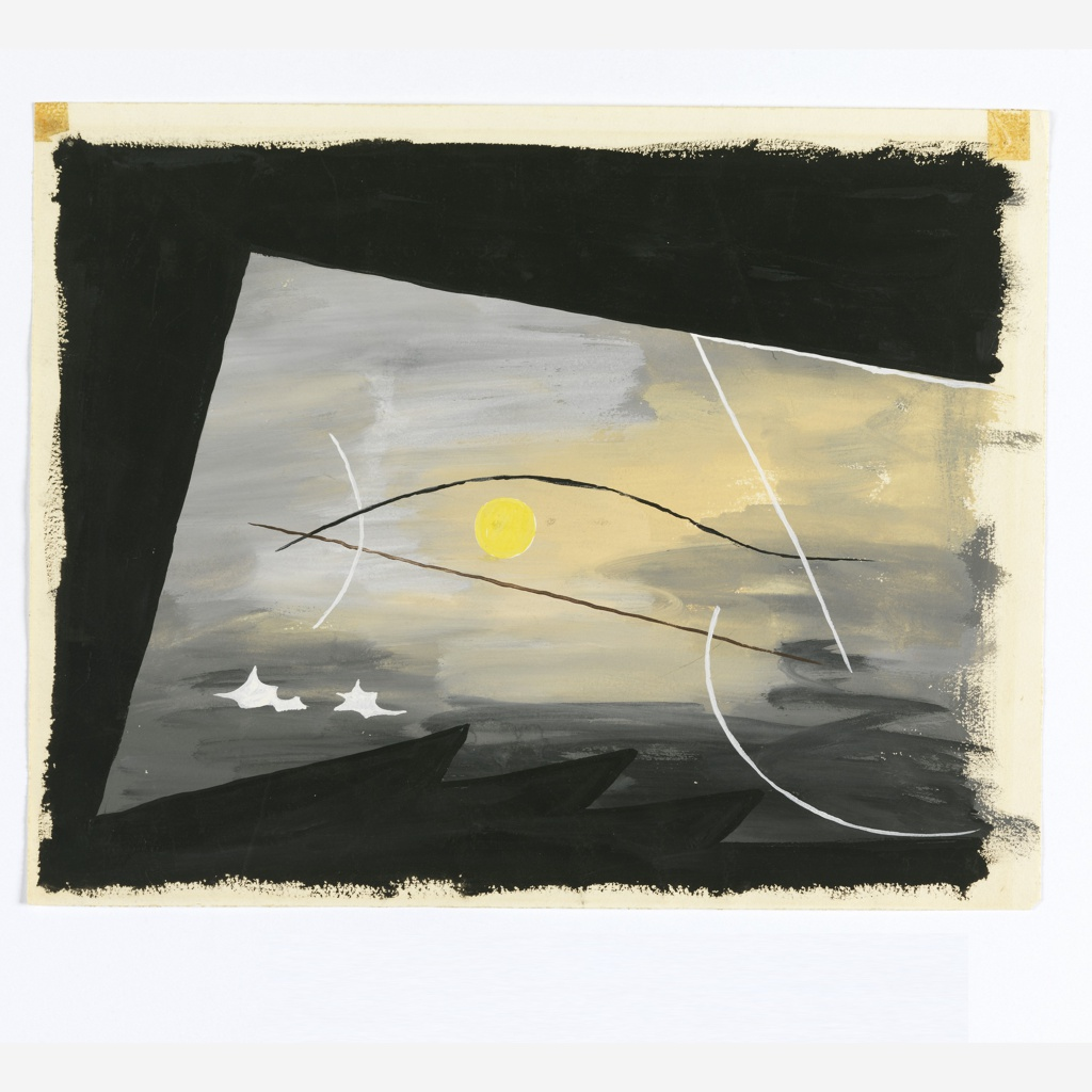 Study of an abstract composition with a bird rendered in outline. At center, a bird's head rendered in black and white outline with a large yellow eye, which doubles as a sun in the hazy sky. Below, two white clouds and a jagged horizon in black.