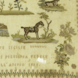 Within a floral border are detached motifs and an inscription.