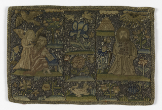 Small oblong pictorial embroidery, possibly for a bible cover, worked in petit point in colored silks with metallic threads as background. On the left, a bearded man sitting at a table reading, with an angel standing over his shoulder and a bird above; on the right, a Moses holding the two tablets in front of his chest. Arranged in squares with a floral decoration in the center.