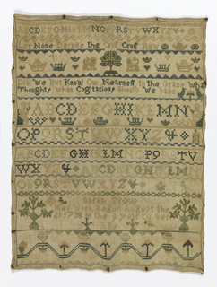 Bands of alphabets, crowns, reversing pattern, two figures with distaffs, and verse: 