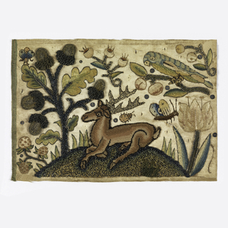 Picture showing a stag resting on a hillock surrounded by oversized vegetation such a tulip, an oak three with acorns, a strawberry plant and other flowers. The scene also inlcudes a large parrot on a branch, a butterfly and other insects.