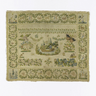 "Signature and floral motifs within 5.5 cm (2 3/16"") border of the twelve Zodiac signs divided by season. In each corner is a picture of a person personifying one of the four seasons. Idea of Zodiac border continues from 15th-16th century woven tapestries."