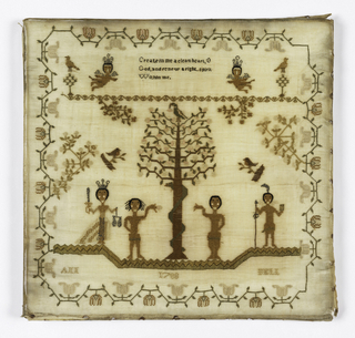 """Within a curving floral border text """"Create in me a clean heart, O God and renew a right spirit within me.""""  Then Adam and Eve with a figure of Justice and an angel."""