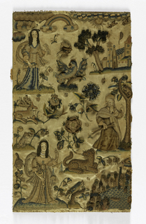 Left portion of what was originally a larger picture. Female figures representing Justice and Prudence in each corner.  At right middle a male figure of a prophet.  Animals and flowers in field.