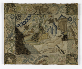 Picture illustrating the story of Pyramus and Thisbe.  Wide floral borders with an animal in each corner and a bird in the middle of each side.  Several areas raised.