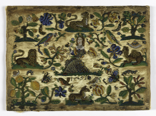 Woman in center surrounded by scattered animals and plants, all in beadwork.