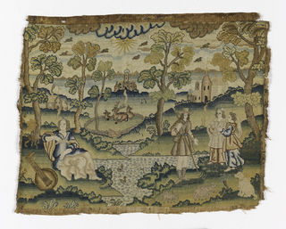 At left a seated woman with a lute at her feet, at right a man with two women, in the background a landscape with buildings and deer.