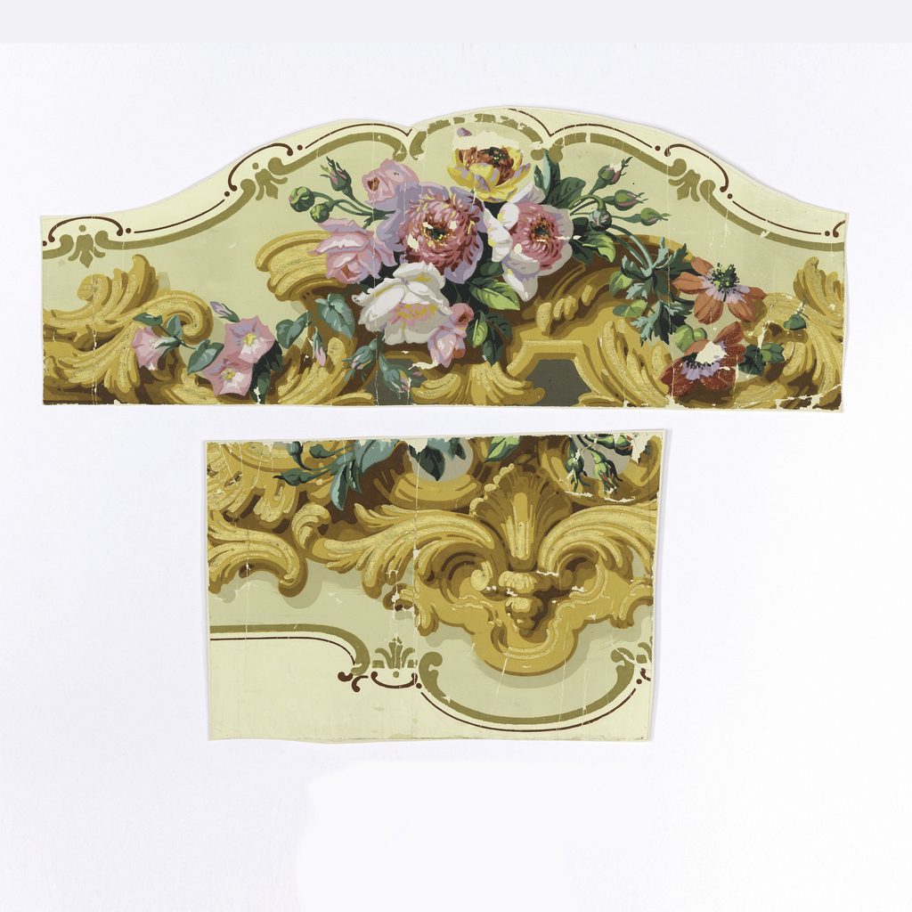 """Horizontal rectangle, roses, rosebuds, morning glories, zinnias and acanthus scrolls framed in scalloped edge of """"c"""" curve, printed in yellows, browns and gilt on yellow-green ground."""