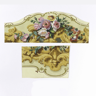 "Horizontal rectangle, roses, rosebuds, morning glories, zinnias and acanthus scrolls framed in scalloped edge of ""c"" curve, printed in yellows, browns and gilt on yellow-green ground."