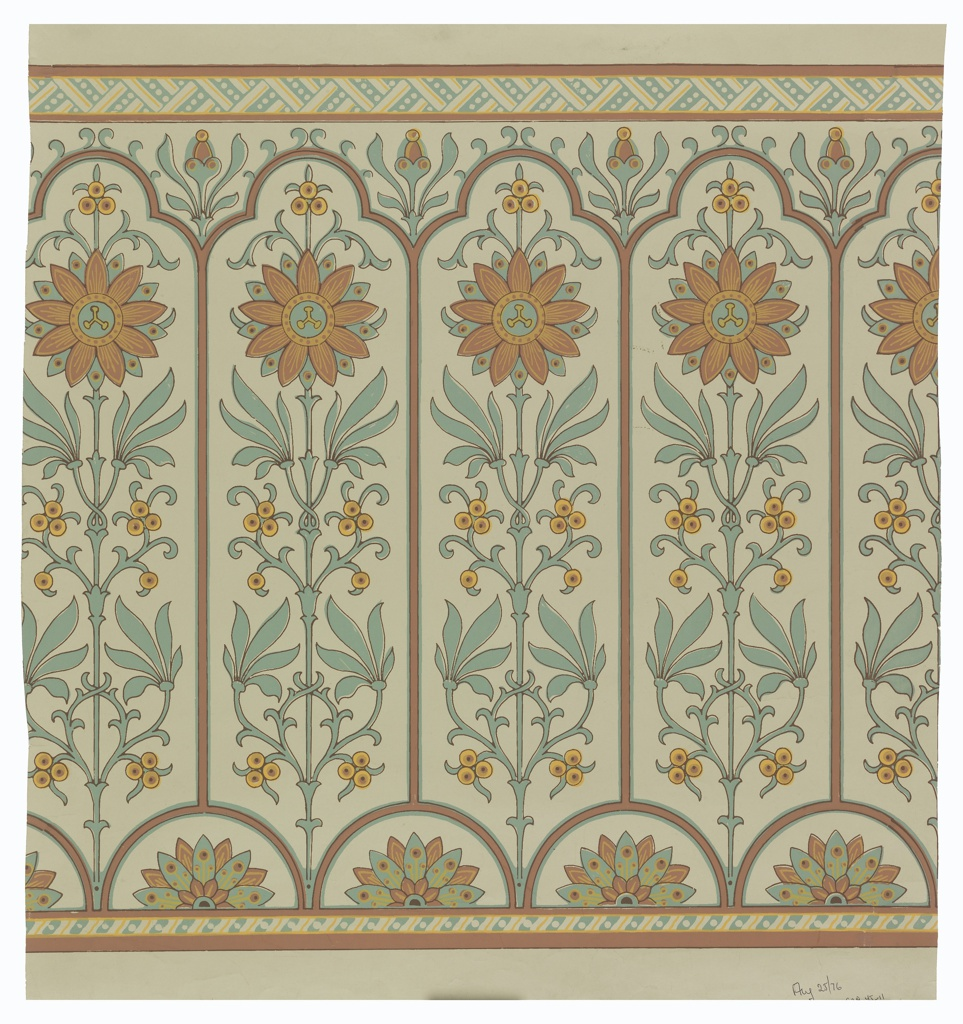 Narrow bands of geometric ornament across top and bottom. Long narrow panels, trefoil-headed, set with conventionalized axial passion-flower, above small tangent semi-circles enclosing conventional half-water lilies. Paper embossed with pebbled figure. Color: Blue, tans and red-violet. Used as a frieze with 1939-45-7