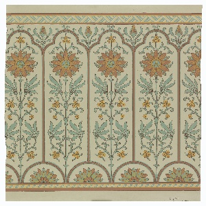 Narrow bands of geometric ornament across top and bottom. Long narrow panels, trefoil-headed, set with conventionalized axial passion-flower, above small tangent semi-circles enclosing conventional half-water lilies. Paper embossed with pebbled figure.