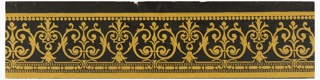 Repeating design of alternating palmette-like forms composed of scrollwork and foliage, with beading and bead-and-reel along edges. Printed in yellow on black ground. Yellow on black ground, glazed.