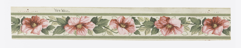 """Narrow green band top and bottom. Design: """"Rose of Sharon."""" Flowers alternate, one facing top of border, the following one the bottom. Occasional leaf touched with silver. The entire paper, design and field, is slightly embossed with a woven linen effect. The entire colored printing process too is printed in coarse textured linen. Printed in selvedge: """"York Wall""""."""