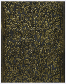 "Made by Peter Lecroix entirely by hand. A fine specimen of high relief imitation embossed leather. An oil paint ""choke"" applied by hand brush over gilt to tone it down. The design is an assymetrical arrangement of oak leaves, pine cones, and floral sprays. Antique gold on green background."