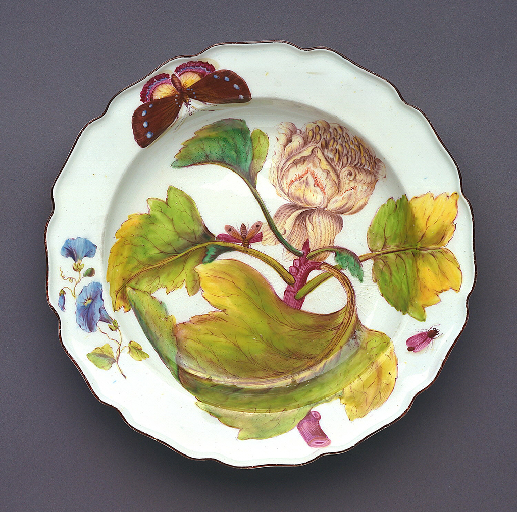 A plate with a wavy, brown-edged rim painted with tulip tree (Liriodendron) flower and leaves, and various insects.