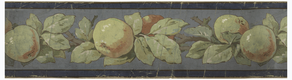 On blue ground, between darker blue edge lines, continuous banding of green and pinkish apples, leaves and branches.