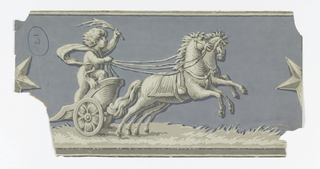On blue grounds, grisaille figures: putti in chariot drawn by two horses; large star on either side of figures.