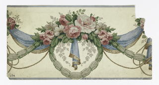 Festooned blue drapery with brown fringe, garlands of small gray leaves, gray and pink roses, blue edge lines.