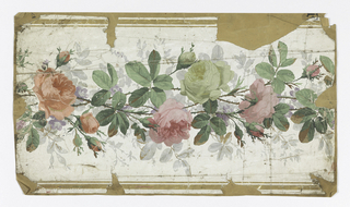 Continuous band of pink sickly green-gray roses, gray foliage behind, brown lines at edges of border.