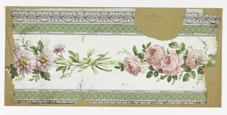a) Architectonic gray acanthus edging; bands of green with diamond-diaper fill pattern above and below a white band with lavender daisies, pink roses joined by green ribbon; b) Same, except edging and ribbon pink.