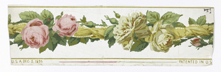 "On white ground, entwined yellow ribbon, yellow and pink roses, between mustard-yellow edge lines. Printed in margin: ""Patented in USA Dec 5, 1895"""