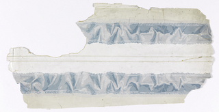 a) Two strips of border printed side by side on one length. Crumpled blue ribbon with edging on ribbon, scalloped ribbon edge; b) fragments of two strips of same; c) two strip.