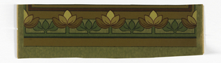 "a) Green paper with stylized widely spaced floral stripe; b) Matching frieze - ""crown"""
