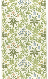 Alternating horizontal rows of clusters of flowers, including Lily of the Valley and Bluebells, surrounded by bower-like pattern of vines. Printed in blue, salmon and green on off-white. Sample number stamped on verso: 134580