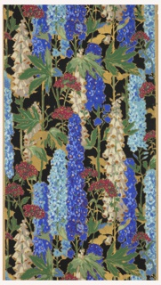 Delphinium, printed in shades of blue and white, with other pink flowers, printed on black ground.
