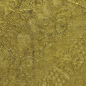 The design is composed of continuous parallel diagonal bands of ornament. There are eight different bands before the repeat. Each band is of Chinese inspired motifs, largely of fret work designs, small floral motifs and geometric patterns. This imitation leather paper is made from the pulp of the bark of the mulberry tree. It is covered with Dutch foil which is gilded and lacquered.