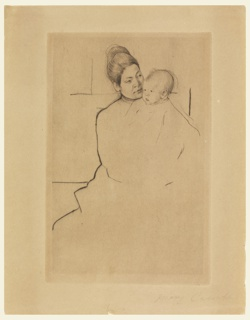 Woman seated frontally, holds baby in her arms and looks into its face. Heads only finished.