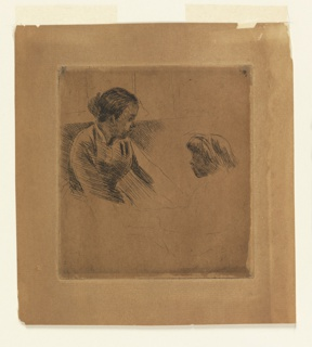 Half length figure of young woman, with a child facing to the left. Lower portions in outline only.