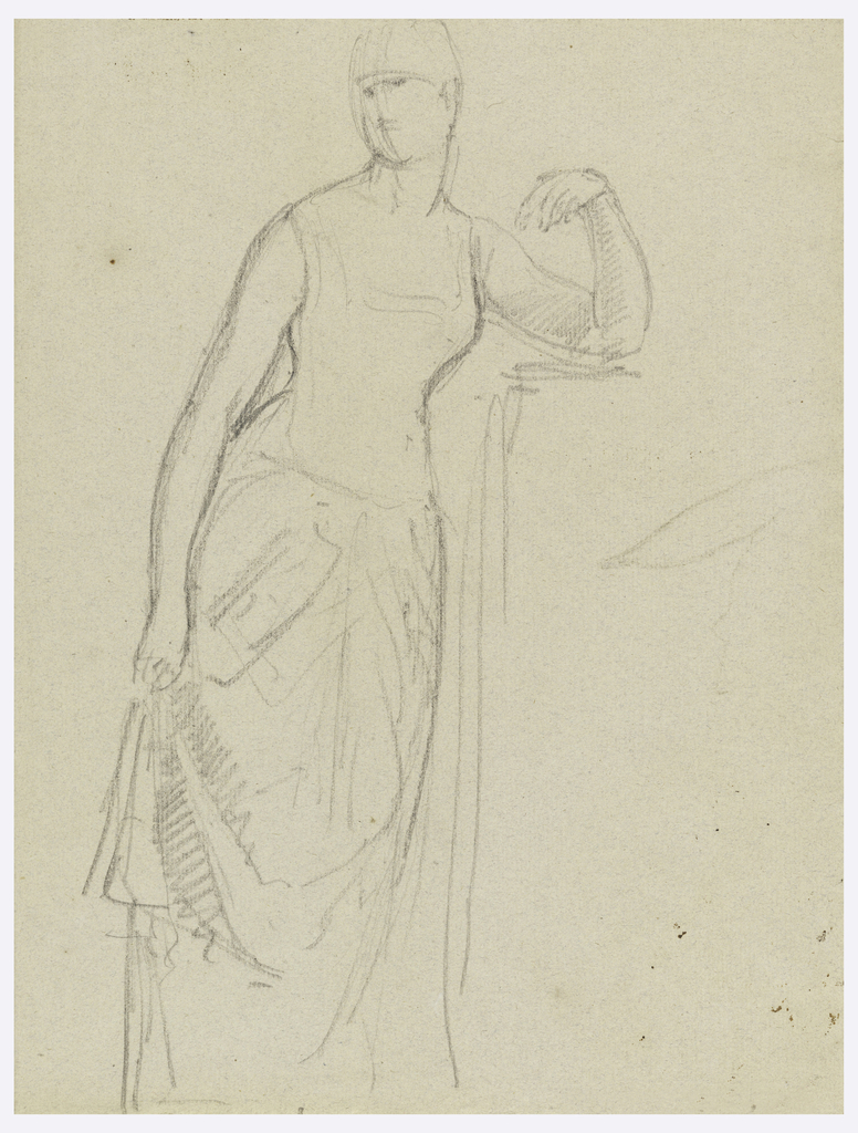 Woman standing, her left elbow on a mantelpiece or pedestal. She holds her skirt in her right hand and looks toward the left.