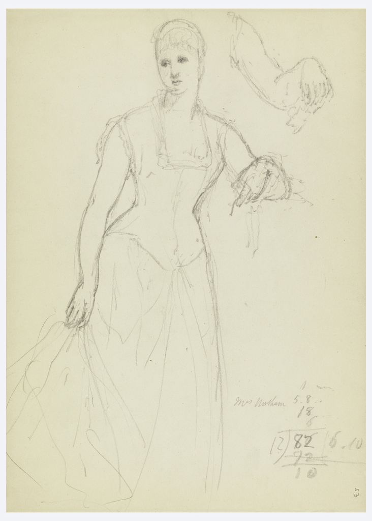 Full-length woman standing, her left elbow on a mantelpiece, pedestal, or wall; she holds her skirt in her right hand, and looks to her left. Her name and some mathematical figuring, lower right. Verso: two sketches of female heads.