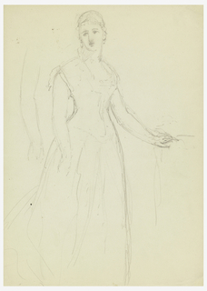 Standing woman, her left hand on a table; her right arm repeated, upper left. She looks toward the left. Verso: horizontal rectangle with two sketches of a left hand holding paper, right. Lower right, notes: Judge Blatchford/ shadows…/ thumb and fingers cold…/ general warmth/ in lights/ shadows neutrals/ warmed/ June 1, 78.