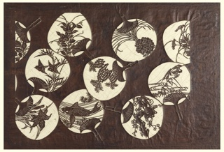 These paper fans or (uchiwa) are each decorated in different motifs; lilies, swallows, koi fish, plum blossoms, ducks, and other floral patterns. Each fan depicts micro snapshots of Japanese nature motifs. Silk threads have added to support the overall structure of the stencil.