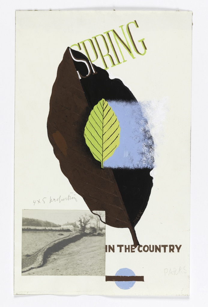 Two leaves in brown and green, the smaller green leaf superimposed on the larger brown one. At the lower left, a photograph of two fields divided by a winding edge. At top center, in yellow and brown: SPRING; and below, in brown: IN THE COUNTRY. At bottom, a blue and brown London Underground logo.