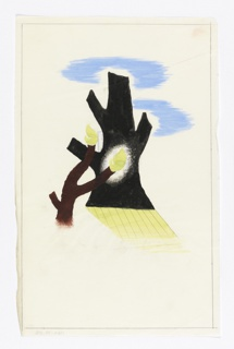 "Study for ""Spring in the Countryside"" poster for the London Transport. At center, abstraction of two tree trunks, the larger in black, the the smaller in brown, terminating in green shoots. Hatched yellow shadow in the foreground. Blue sky indicated above the two trees. Framing indicated in graphite on all four sides."