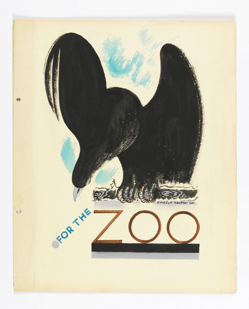 """Study for a poster, likely to become part of the Underground """"For the Zoo"""" series, advertising the use of public transportation to visit the zoo. A large bird of prey is seen clutching a stick, facing frontally, wings half raised and head bent downward. Title below in turquoise: FOR THE / [in black:] ZOO."""
