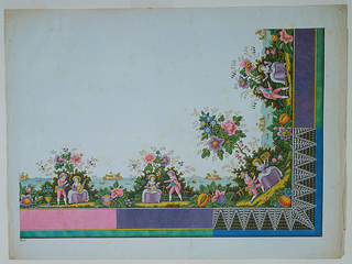 Shows a corner of a repeating design border. From left to right, a couple plays music, man in pink and woman in purple, sitting before a bush with colorful flowers; in the background, a body of water with some boats and an island with a castle in the distance; next, the couple plays with a dog; in the corner, the man offers the woman a flower, while she holds a box; lastly, the man holds a scroll and points it at the woman as she raises her hands. The border consists of areas of color, pink and purple and black with white zigzagging patterns.