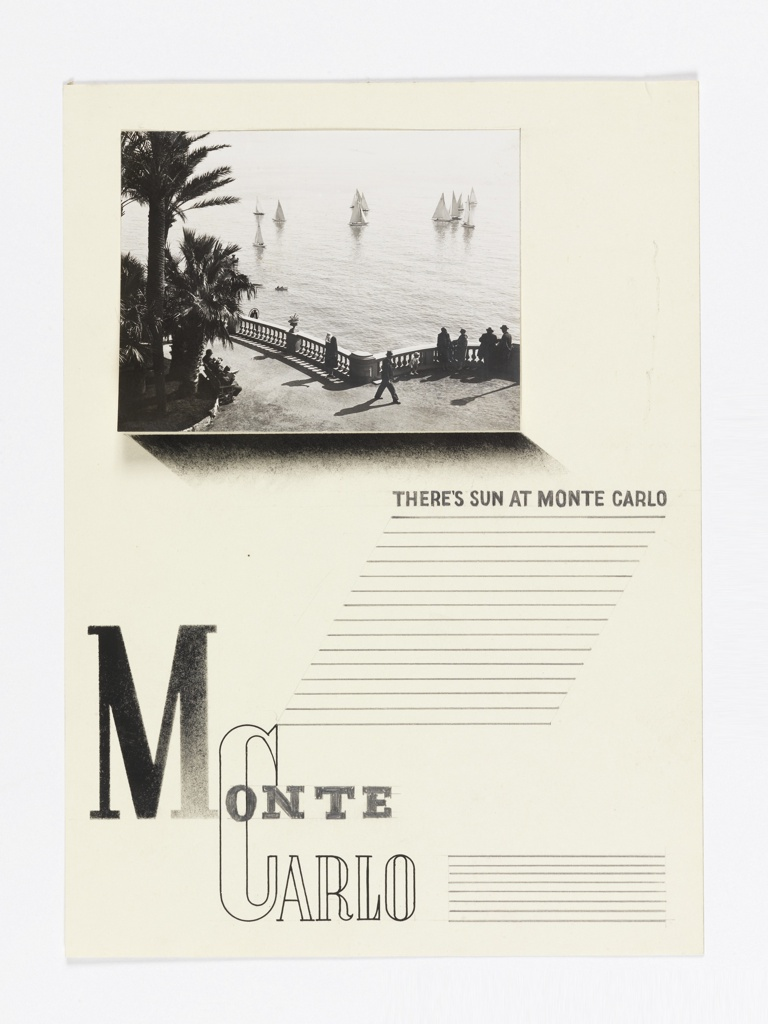 Study for a poster featuring Monte Carlo. At top left, a photograph of sailboats on the Mediterranean seen from the terrace of the Monte Carlo Casino. Below, at right, in black text: THERE'S SUN AT MONTE CARLO. Rows of ruled lines below, likely to indicate space for copy. At bottom left: MONTE CARLO. At bottom right, more rows of rulled lines, likely to indicate space for copy.
