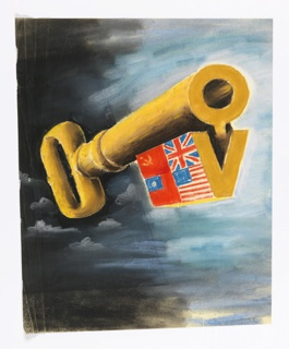Likely a study for a wartime poster. A large foreshortened bronze key, floating in a gray cloudy sky, whose tongue forms the letter V and carries the national flags of the USSR, Great Britain, China, and the United States.