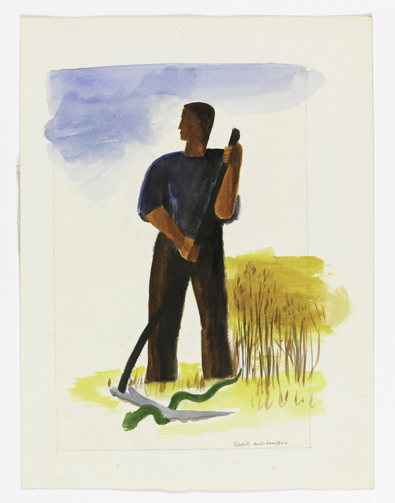 At center, a figure wearing a blue shirt and brown trousers, stands holding a scythe over a green snake, in a yellow landscape. A blue sky is indicated at top.