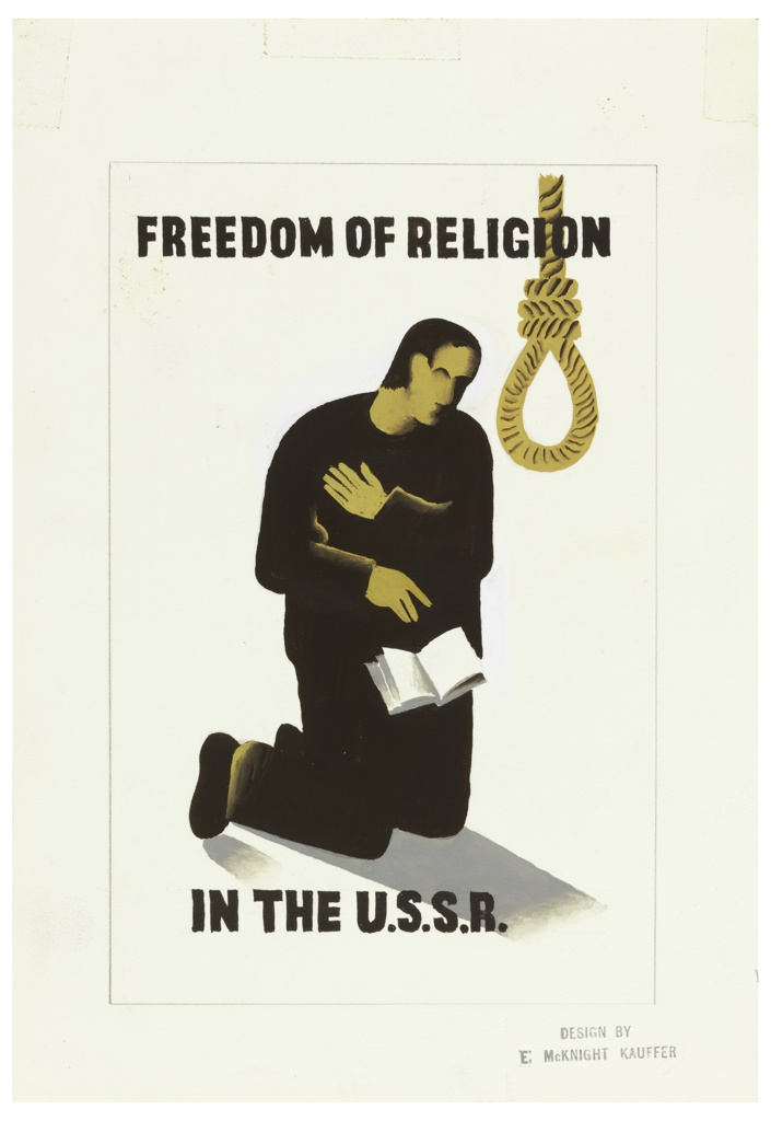 At center, a kneeling figure turned partly to the right right, facing a hangman's noose, while an open book falls from the figure's fingers. Above, text in black block lettering: FREEDOM OF RELIGION; below: IN THE U.S.S.R.