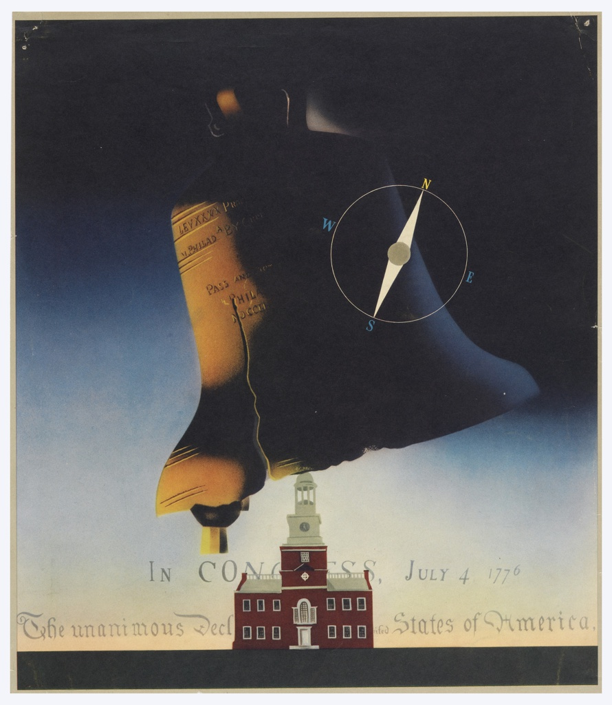 Advertising proof for American Silk Mills. At center, the Liberty Bell with a compass superimposed upon it, seen in semi-abstraction above Independence Hall against a blue sky. The heading of the Declaration of Independence in the sky at bottom, in gray text: IN CONGRESS, JULY 4 1776 / The unanimous Decl[...] States of America, .