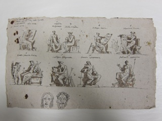 """Horizontal rectangle. Written top left corner: """"S E Aldini Parisi/ terza camera ossia, sale diptinta/ a Monmorosi/ 4 Gennaio 1813."""" Women, seated. Top row left: History shown in profile turned toward right and writing on a tablet. A trumpet leans against the stool. Written on top: """"l/ clio storia."""" Left center: Tragedy holding a mask and a sword. Written on top: """"2/ tragedia/ melpomene"""" and """"3/ Talia comedia,"""" respectively. Right center: shown holding a music sheet; a flute leans against the stool. Written on top: """"4/ Euterpe musica."""" Right: Dance, shown in profile turned toward left, playing the harp. Written on top: """"5/ Tersicore danza."""" Between """"four"""" and """"five"""" is a pen sketch for a different pose of Euterpe, holding a scroll in her lap and a flute in her left hand. Second row, left: Lyric poetry shown in profile, turned toward left, holding the lyre; Cupid speaks to her. Written on top: 6/ Erato poesia lirica."""" Left center: Eloquence, shown in profile, turned toward left, holding an open book. A trumpet and books lean against the stool. Written on top: """"7/ Calliope Eloquenza."""" Center right: Astronomy holding a sphere. Written on top: """"8/ urania astronomia."""" Right: Rhetoric, raising her right hand and holding a trumpet with her left hand. Bottom: a tragic and a Faun's mask."""