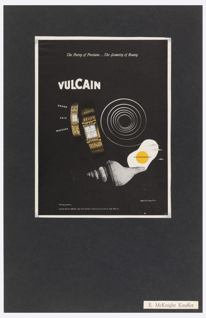 Clipping of an advertisement for Vulcain Watches, pasted onto a larger black sheet of paper. At center top, in white script-like text: The Poetry of Precision… The Geometry of Beauty. Below, justified to the left: VULCAIN. At center of image, a composition of many images consisting of two photo-realistic depictions of gold watches at left, a white spiral to the right, a stylized drawing of a fried egg with three clouds superimposed on top, and a photograph of a shell below. To the left of this composition, in white text: GRAND / PRIX / WATCHES. Across bottom margin of the image, in white text: At fine jewelers. VULCAIN WATCH COMPANY, 630 FIFTH AVENUE, ROCKEFELLER CENTER, NEW YORK 20.