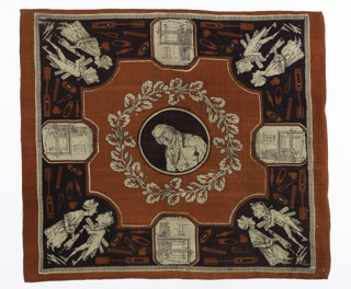 Printed silk handkerchief with a portrait of Joseph-Marie Jacquard (1752 - 1834) in the center, framed by a leafy wreath with silk cocoons and caterpillars. In each corner, an arguing couple; he is holding a reed, a roll of fabric, and a wet umbrella. On each side, a hexagonal medallion with the jacquard loom. In the border between, weaving implements. Printed in red and dark purple on a white ground.