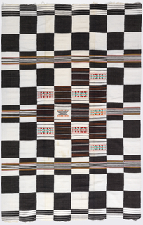 Panel composed of eight strips sewn side-to-side. An overall checkerboard pattern of deep blue and white is accented with multicolored horizontal stripes and supplementary weft patterns.