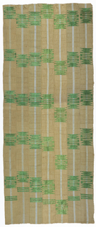 Head wrap formed of seven narrow strips sewn together selvedge to selvedge. Each strip has a single light blue vertical stripe on a tan background. Patterned with regularly-spaced geometric motifs in green rayon.